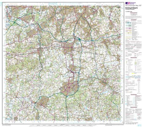 Folded Maps - Dorking Reigate Crawley Landranger Map - Ordnance Survey