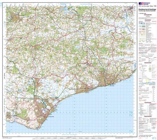 Folded Maps - Eastbourne Hastings Battle Landranger Map - Ordnance Survey