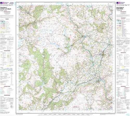Folded Maps - Elan Valley Builth Wells Landranger Map - Ordnance Survey