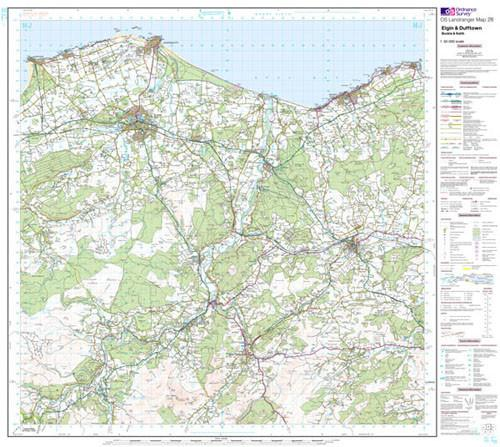 Folded Maps - Elgin Dufftown Buckie Keith Landranger Map - Ordnance Survey