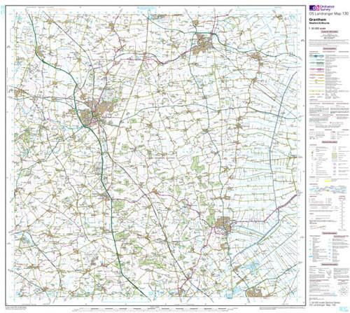 Folded Maps - Grantham Sleaford Bourne Landranger Map - Ordnance Survey