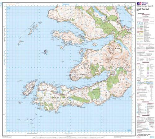 Folded Maps - Iona West Mull Ulva Landranger Map - Ordnance Survey