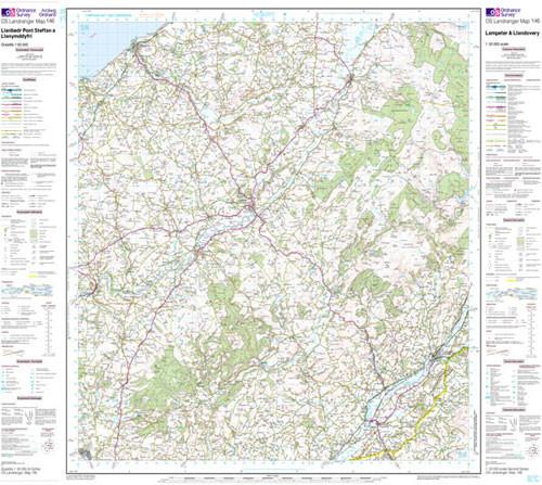 Folded Maps - Lampeter Llandovery Landranger Map - Ordnance Survey