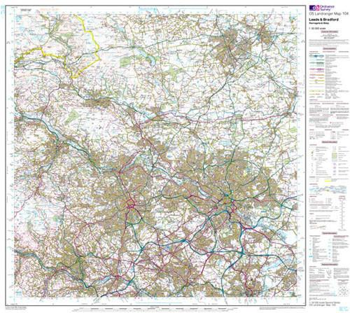 Folded Maps - Leeds Bradford Harrogate Landranger Map - Ordnance Survey