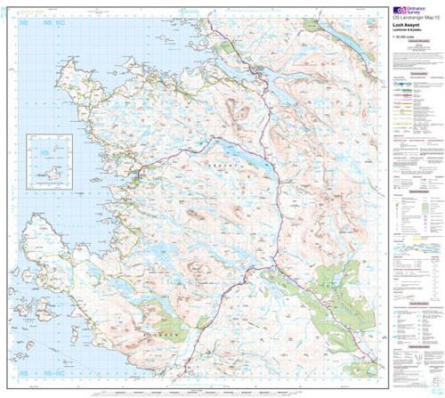Folded Maps - Loch Assynt Lochinver Kylesku Landranger Map - Ordnance Survey