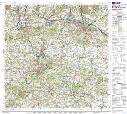 Maidstone Tunbridge Wells Landranger Map Ordnance Survey Map