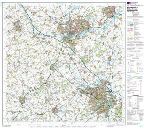 Folded Maps - Northampton Milton Keynes Landranger Map - Ordnance Survey