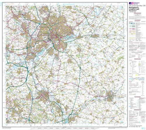 Folded Maps - Nottingham Loughborough Landranger Map - Ordnance Survey