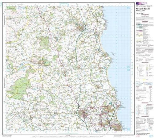 Folded Maps - Ordnance Survey Landranger Map Alnwick Morpeth And Rothbury