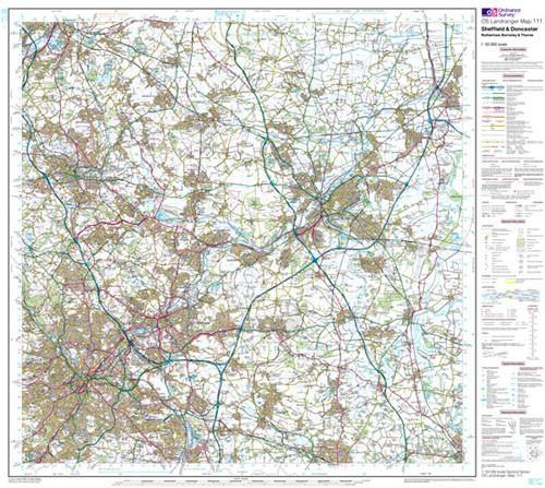 Folded Maps - Sheffield Doncaster Rotherham Landranger Map - Ordnance Survey