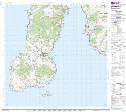 Folded Maps - South Kintyre Campbeltown Landranger Map - Ordnance Survey