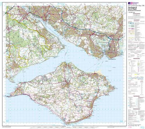 Folded Maps - The Solent IOW Southampton Landranger Map - Ordnance Survey