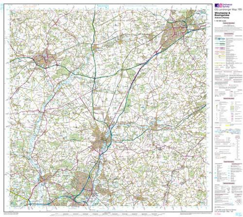 Folded Maps - Winchester Basingstoke Landranger Map - Ordnance Survey