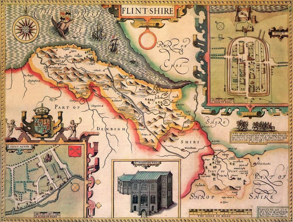 Jigsaw Puzzle - Flintshire Historical Map 1000 Piece Jigsaw Puzzle (1610)
