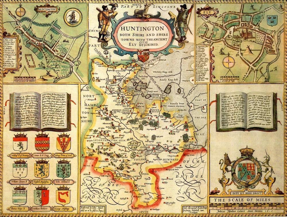 Huntingdonshire Historical Map 1000 Piece Jigsaw Puzzle (1610) - All Jigsaw Puzzles