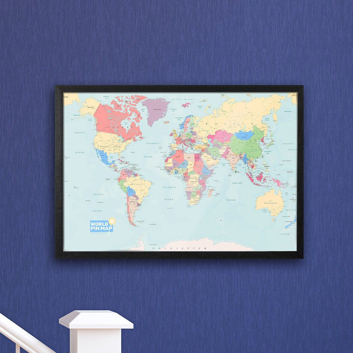 World Map Pinboard | Framed Map Pinboard on