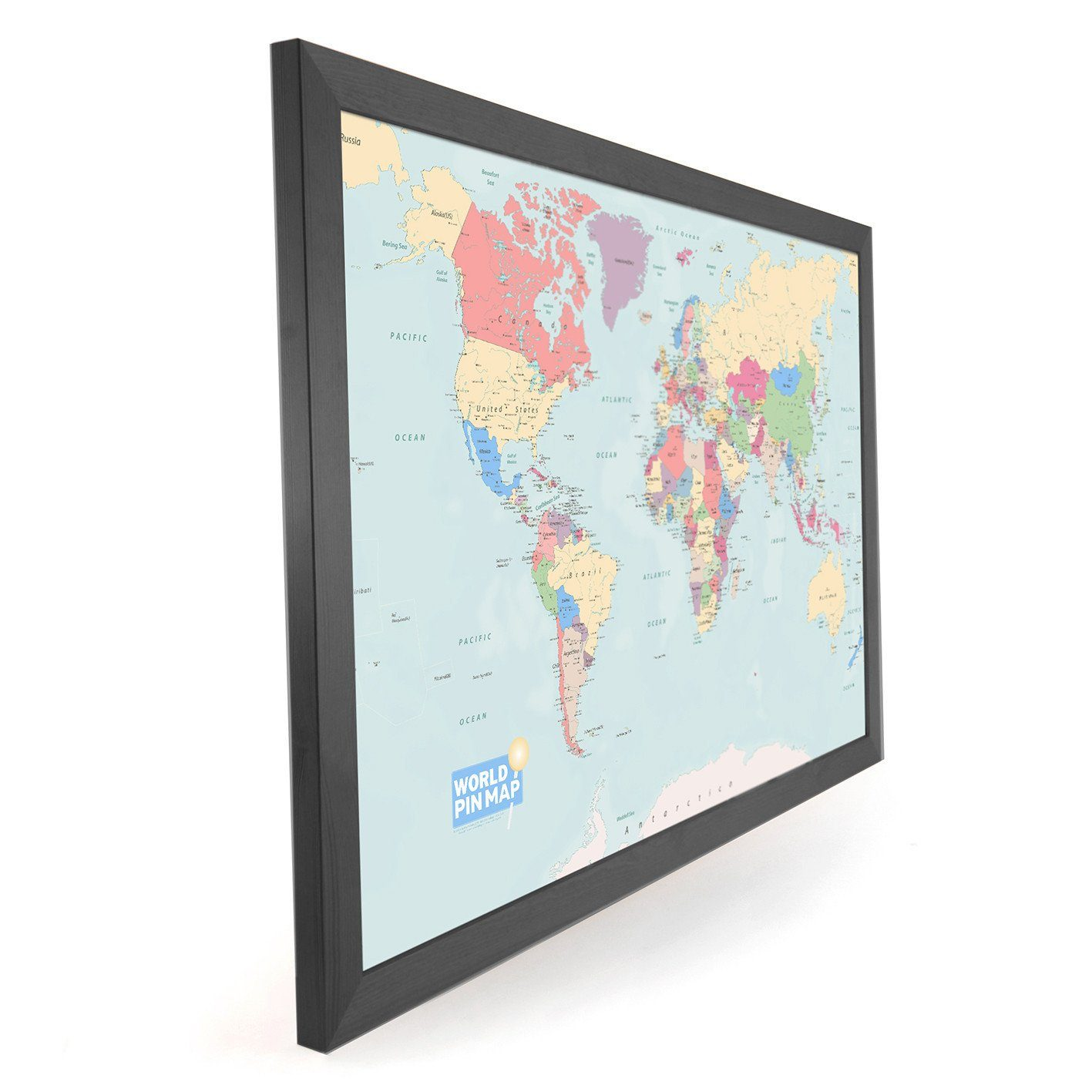 World map pinboard framed map of the world to plan and record map gift framed world pinboard map gumiabroncs Image collections