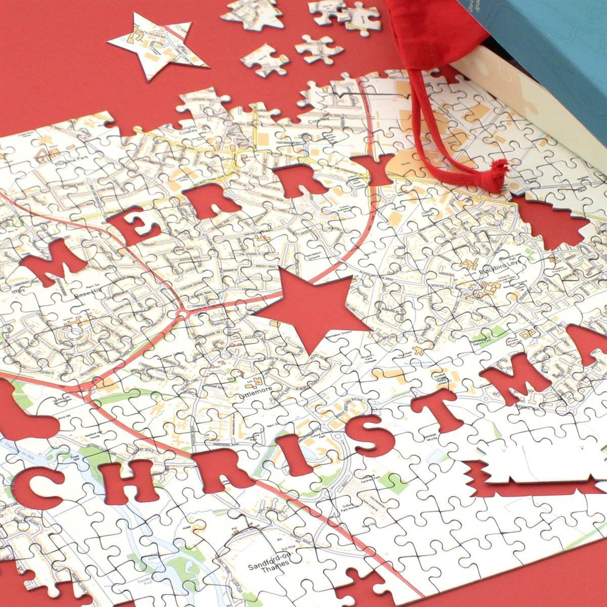 Merry Christmas Personalised Map Jigsaw Puzzle