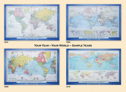 map gift personalised historic world wall map