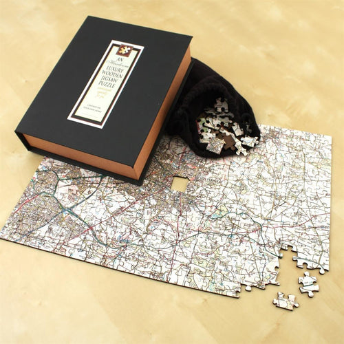 Map Gift - Personalised Wooden Heirloom Map Jigsaw - Premium Gloss Wood