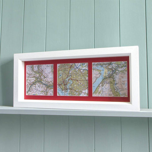 Map Gift - Trio Of Map Squares - Deep Box Frame