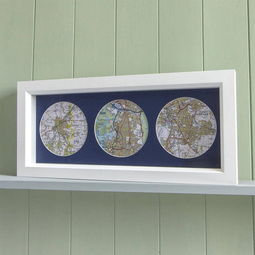 Map Gift - Trio Of Personalised Map Circles - Box Framed