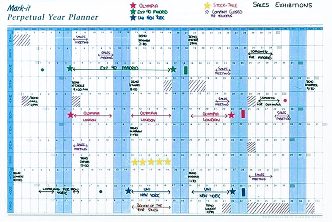 photograph about Perpetual Calendar Chart identify Perpetual Calendar year Wall Planner: Generate Upon Wipe off Wall Chart