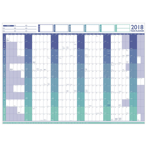 Planners - 2018 Large Year Wall Chart & Holiday Planner