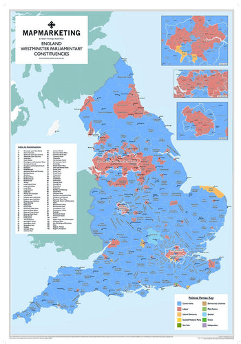 Wall Map - England Parliamentary Map