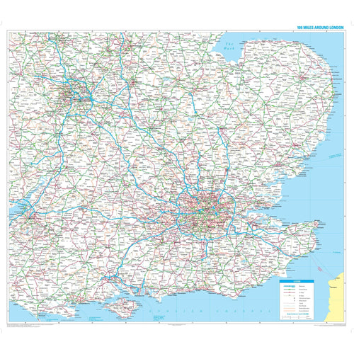 Wall Maps - 100 Miles Around London Wall Map