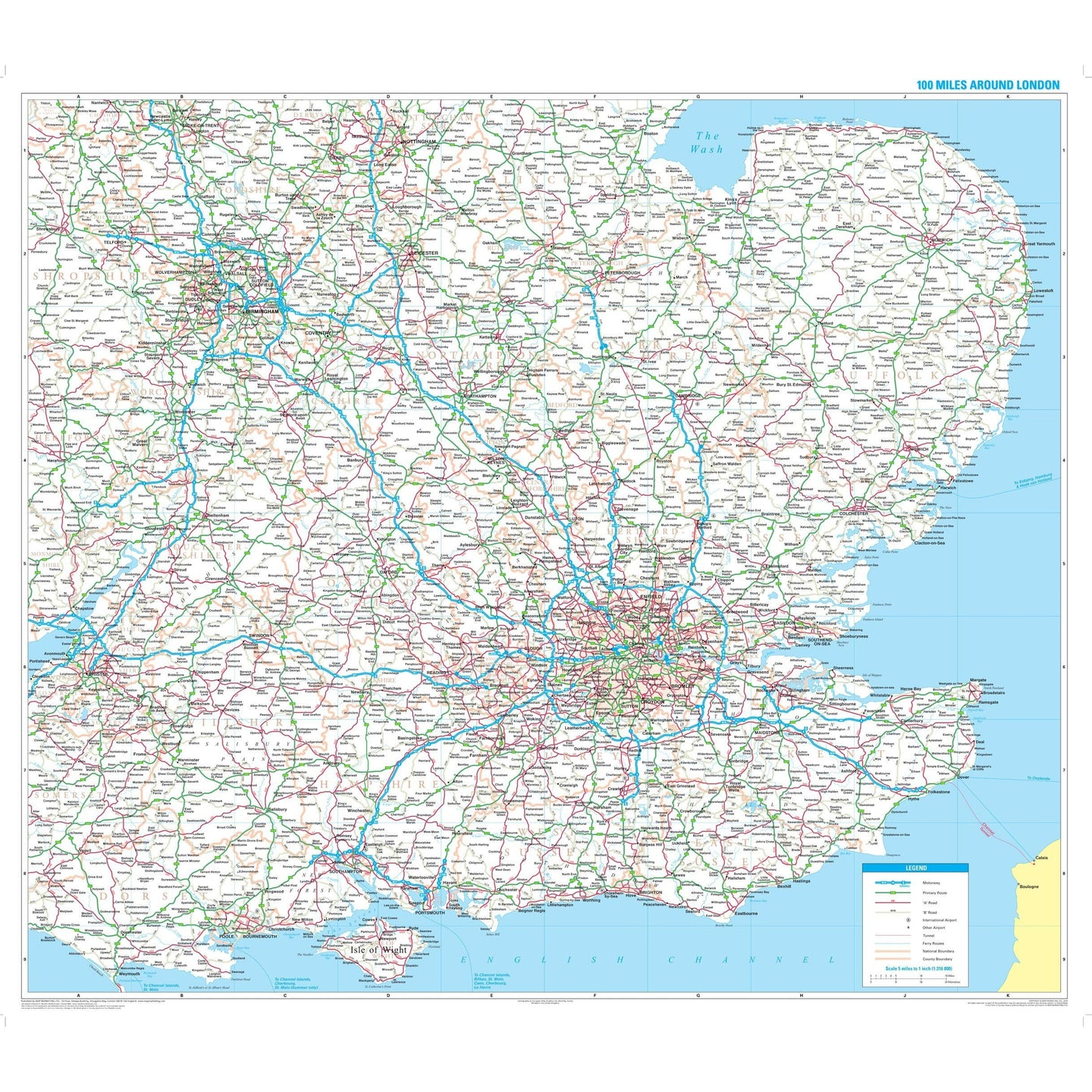 Where Is London Map.100 Miles Around London Write On Wipe Off Laminated Wall Map