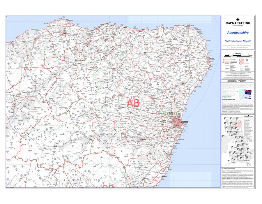 Wall Maps - Aberdeenshire Postcode Wall Map - Sector Map 32