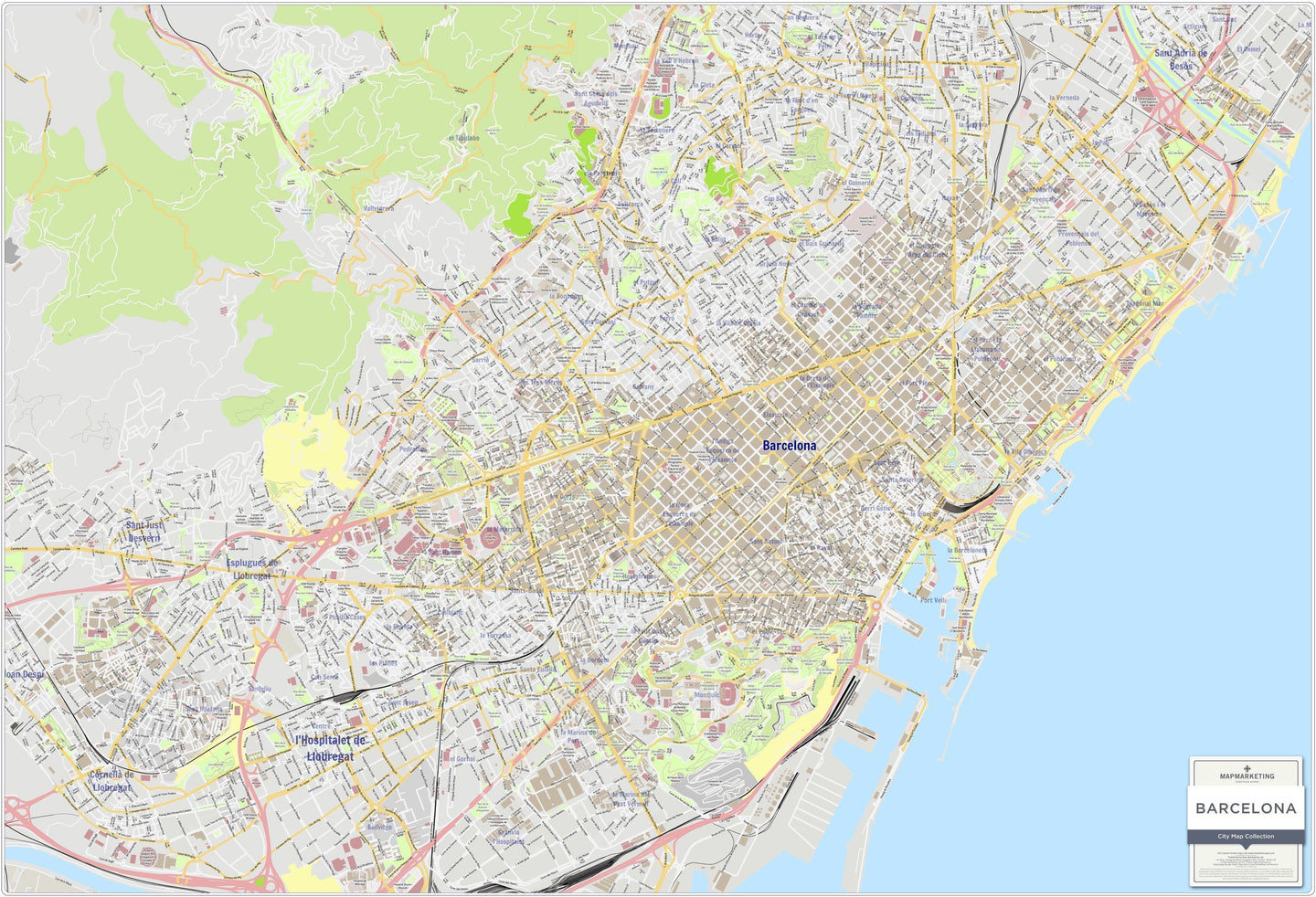 Wall Maps - Barcelona City Map - Laminated Wall Map