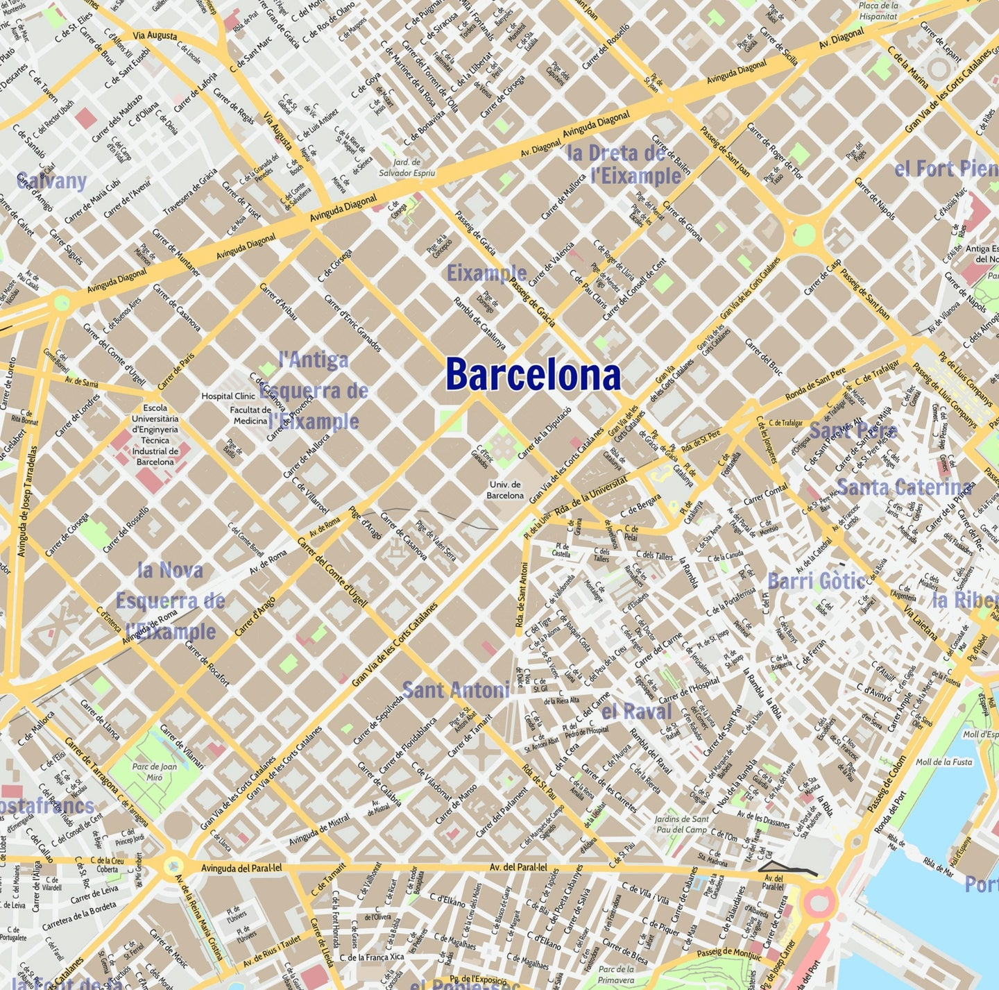 Barcelona City Map - Laminated Wall Map of Barcelona, Spain on map of kiev city, map of zhuhai city, map spain city, map of malta city, map of danang city, map of ulan bator city, map of juba city, map of switzerland city, map of bucharest city, map of chiang rai city, map of rio de janeiro city, map of quito city, about barcelona city, map of nagoya city, map of sharjah city, map of toledo city, map of bulawayo city, map of dallas city, map of kunming city, map of queen city,