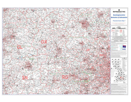 Wall Maps - Berkshire, Buckinghamshire And Oxfordshire Postcode Wall Map Sector Map 7