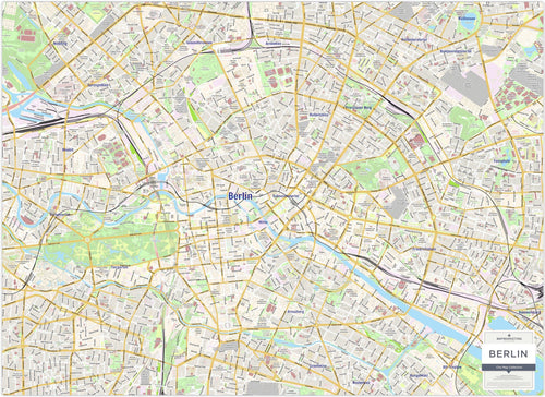 Wall Maps - Berlin City Map - Laminated Wall Map