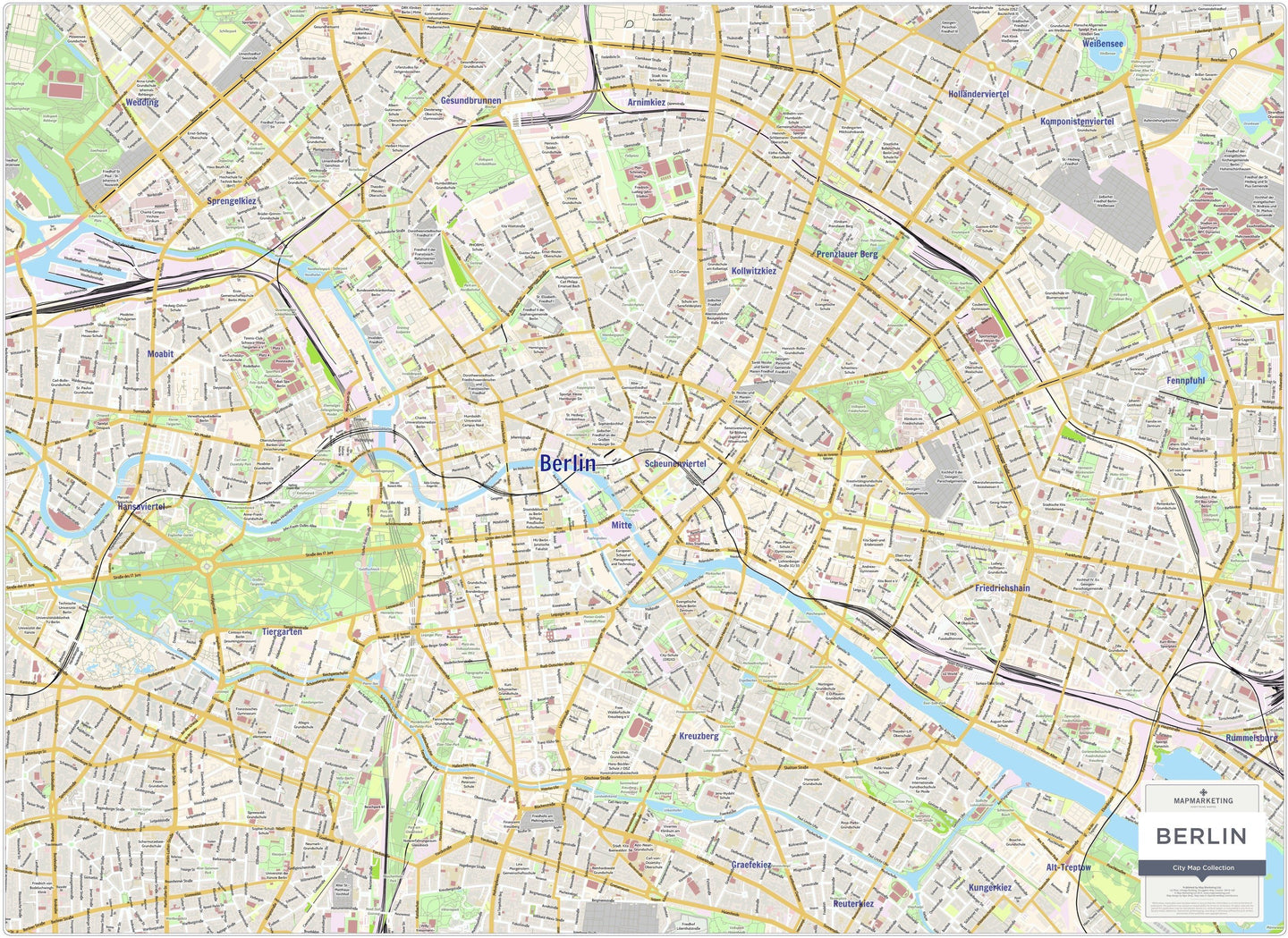 Berlin On Map Of Germany.Berlin City Map Laminated Wall Map Of Berlin Germany