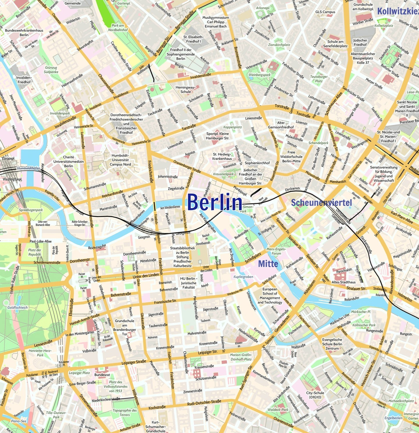 Berlin Map Of Germany.Berlin City Map Laminated Wall Map Of Berlin Germany