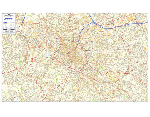 Wall Maps - Birmingham Postcode Wall Map -  City Sector Maps 2