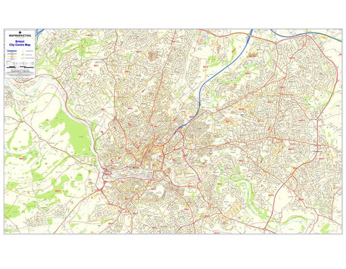 Wall Maps - Bristol Postcode Wall Map - City Sector Map 1