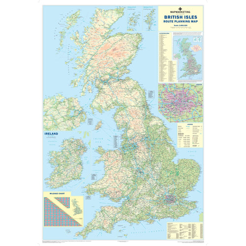 Wall Maps - British Isles Motoring Map - Laminated Wall Map