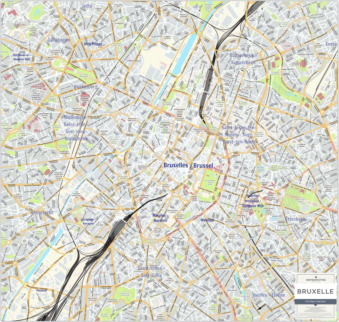 Brussels City Map Laminated Wall Map Map Marketing