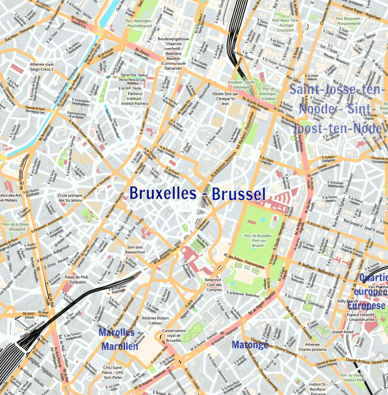 Brussels City Map - Laminated Wall Map of Brussels, Belgium
