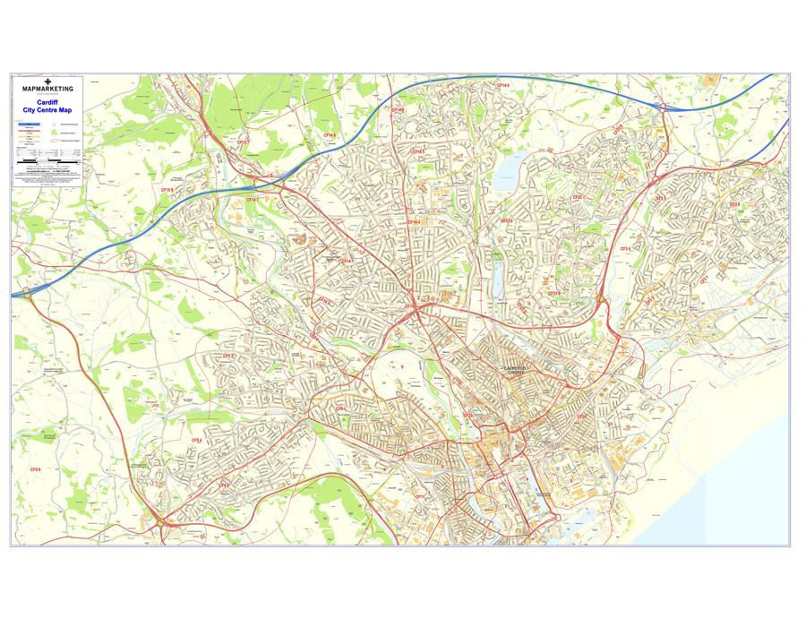 Wall Maps - Cardiff Postcode Wall Map - City Sector Map 3