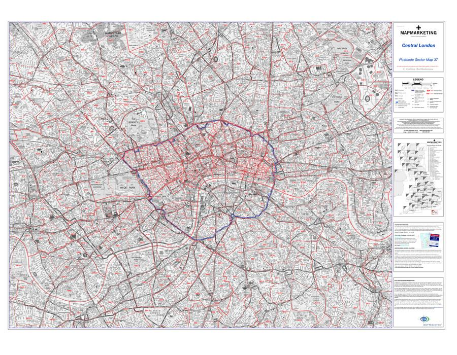 central london postcode wall map sector map 37 map marketing