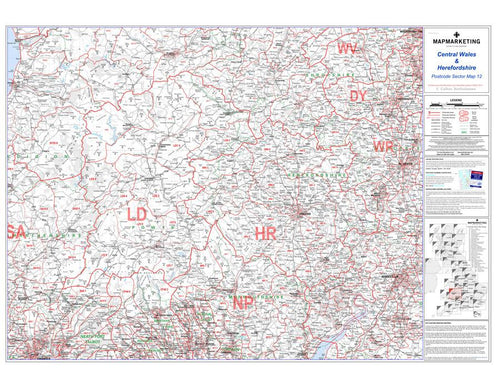 Wall Maps - Central Wales And Herefordshire Postcode Wall Map - Sector Map 12