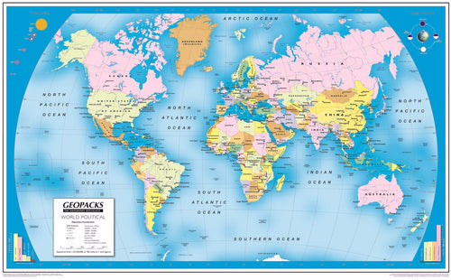 Wall Maps - Childrens Reversible Political/Physical Educational Wall Maps