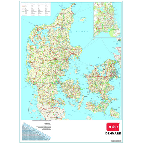 Wall Maps - Danish Political Wall Map - Denmark Map