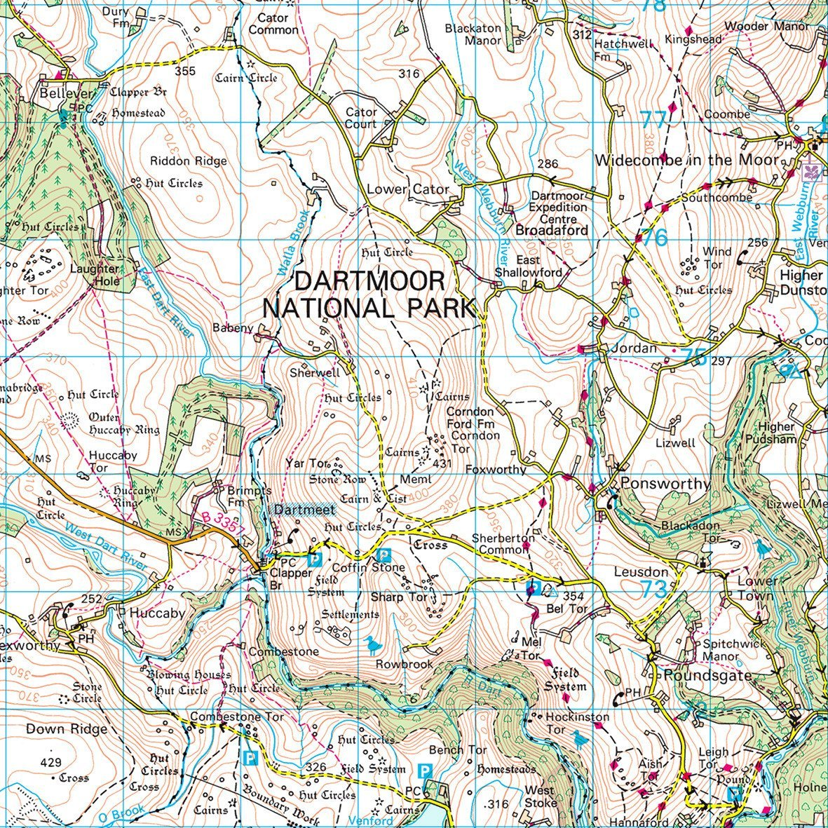 Map Of Dartmoor Dartmoor   UK National Park Wall Map
