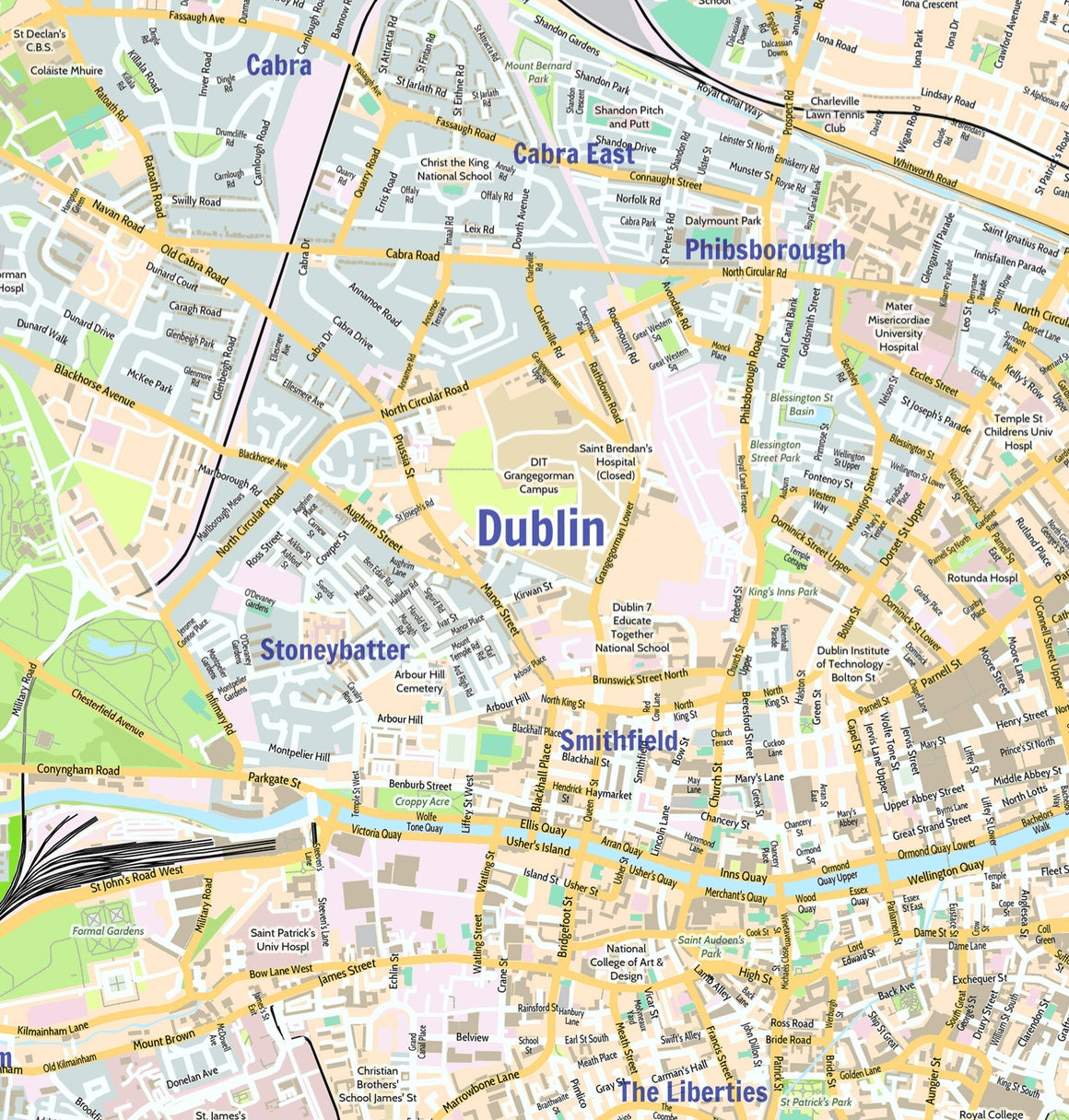 Map Of Dublin Ireland Dublin City Map   Laminated Wall Map of Dublin, Ireland